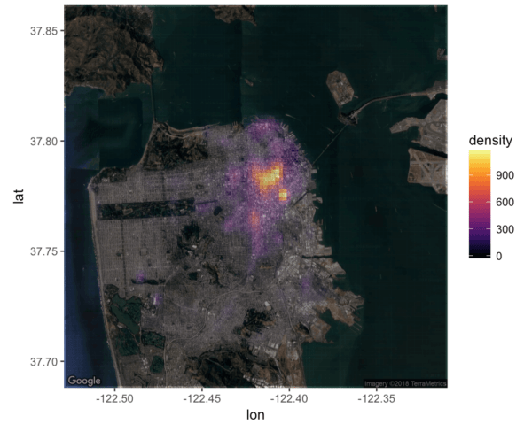 A San Francisco crime heatmap in R, made with ggplot2 and the inferno color palette from the viridis package.